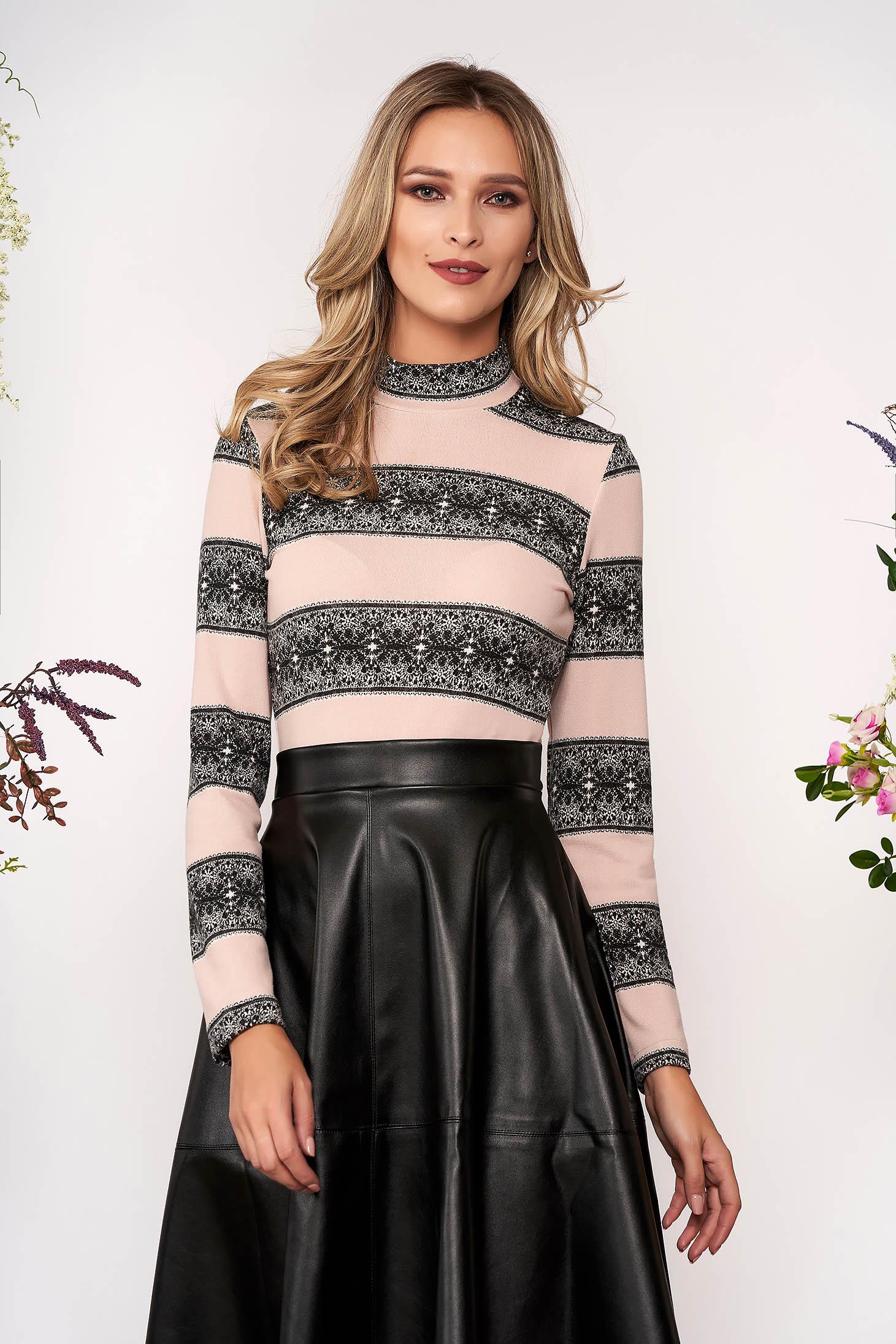 Pulover StarShinerS roz deschis mulat tricotat pe gat cu maneci lungi