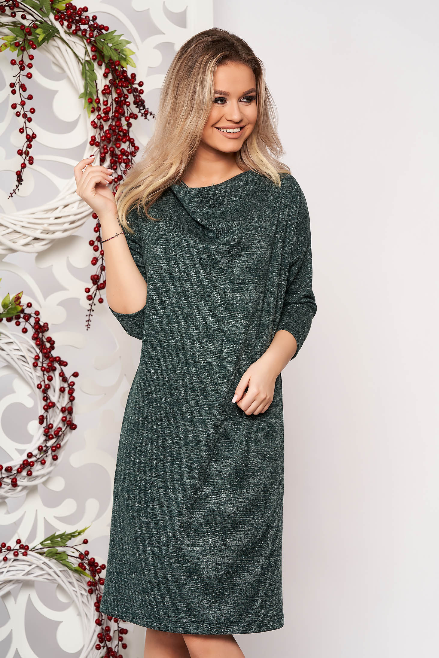 Rochie StarShinerS verde din material tricotat fir stralucitor cu croi larg