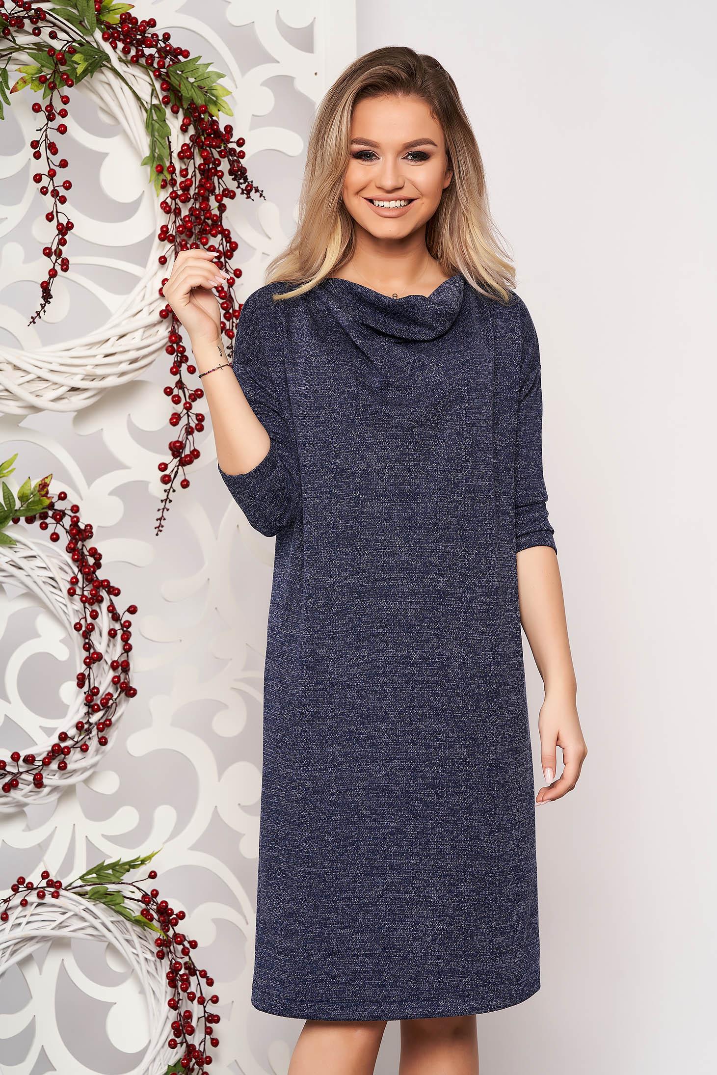 Rochie StarShinerS albastru-inchis din material tricotat fir stralucitor cu croi larg