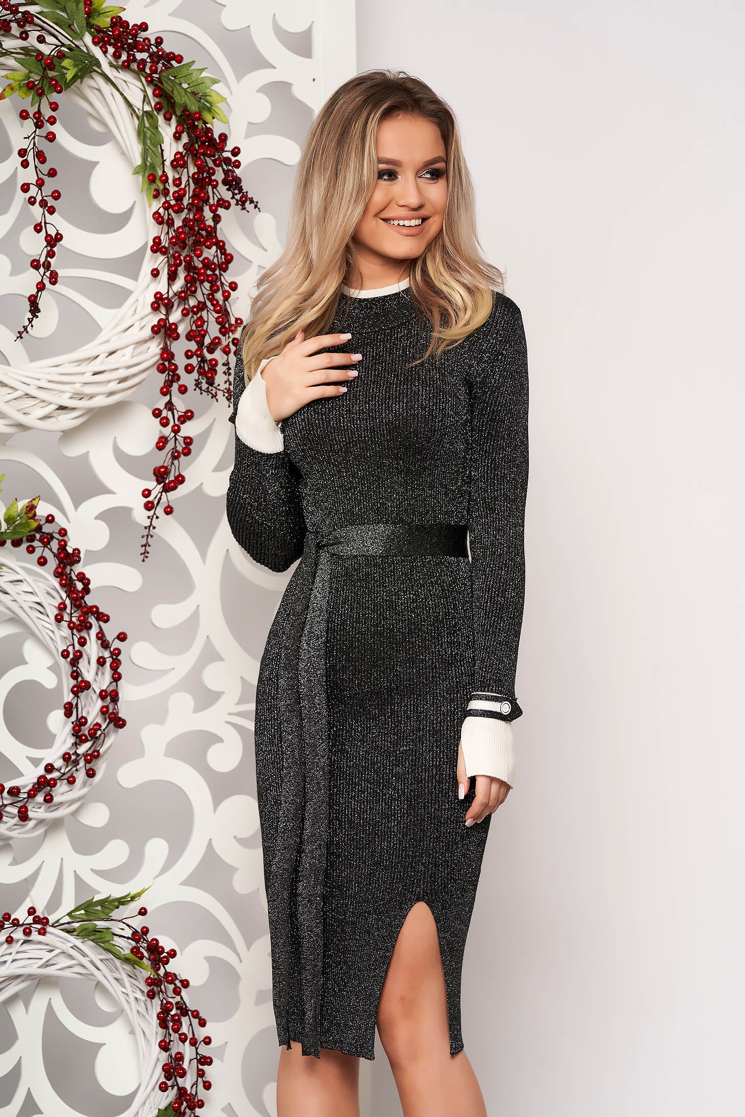 Darkblue dress elegant midi pencil knitted from striped fabric with turtle neck frontal slit