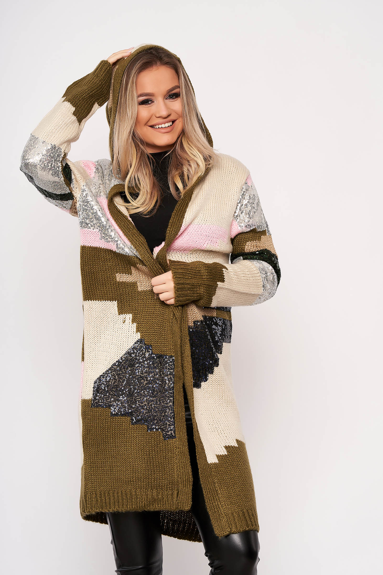 Khaki cardigan elegant with sequin embellished details with undetachable hood knitted fabric with no closure