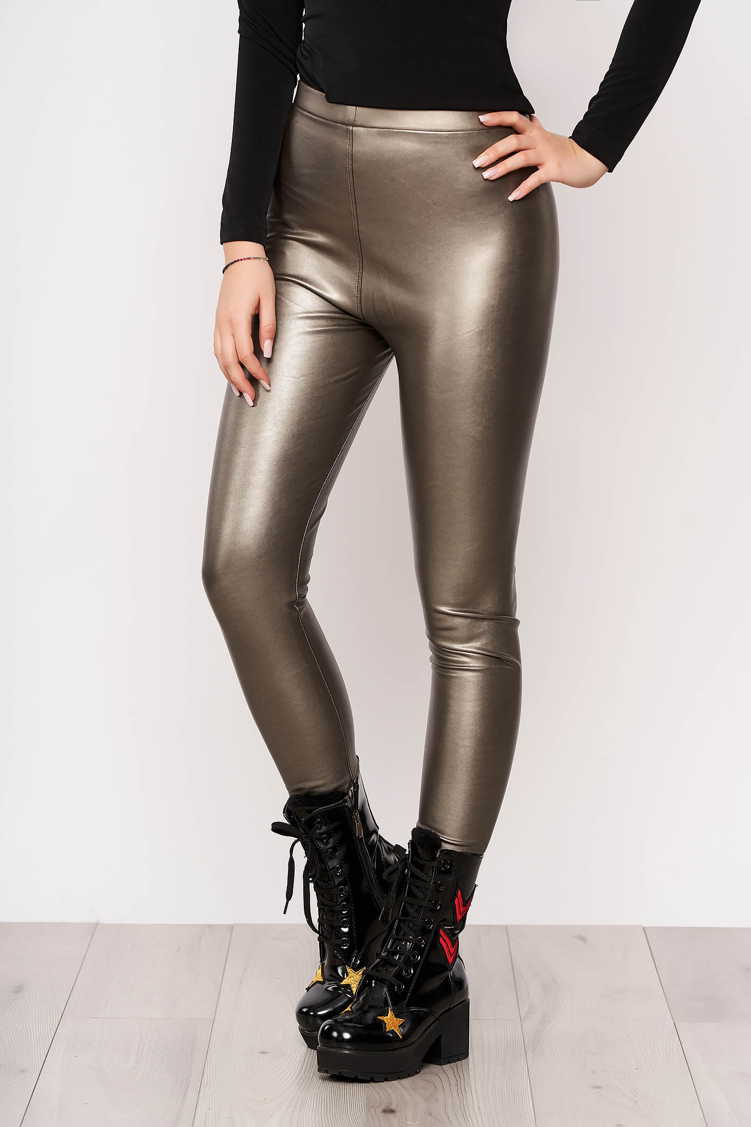 Gold tights clubbing from elastic fabric faux leather elastic waist from shiny fabric