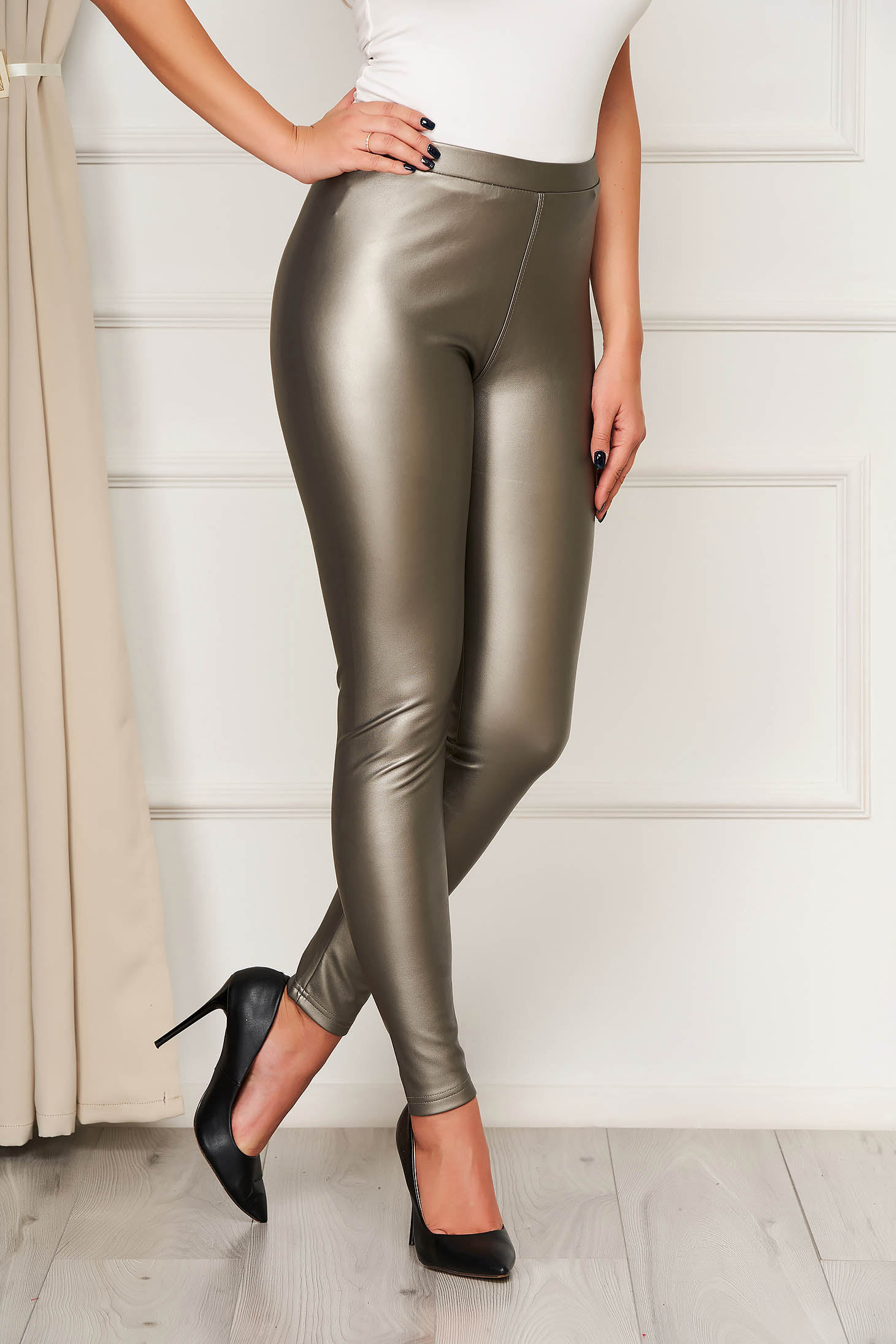Gold tights from ecological leather elastic waist high waisted