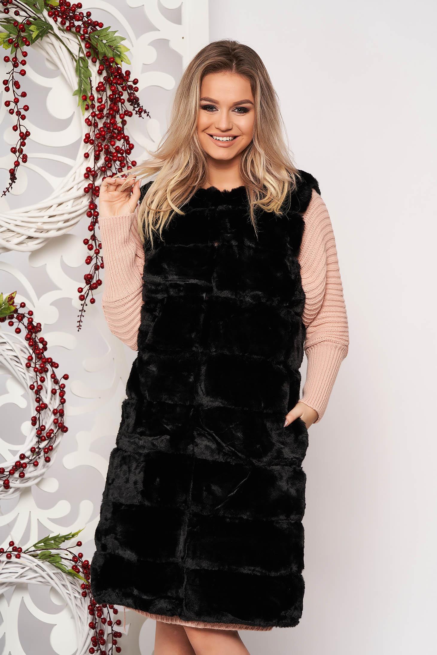 Vesta SunShine negru eleganta din blana ecologica fara maneci cu buzunare captusita pe interior