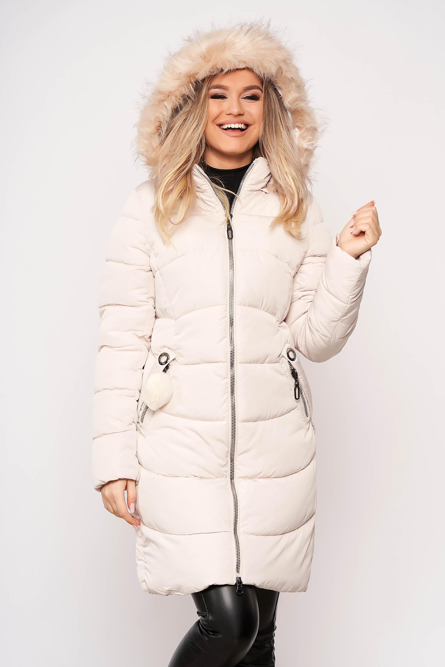 Krémszínű dzseki casual midi vízhatlan zsebes cipzárral zárható eltávolítható kapucni