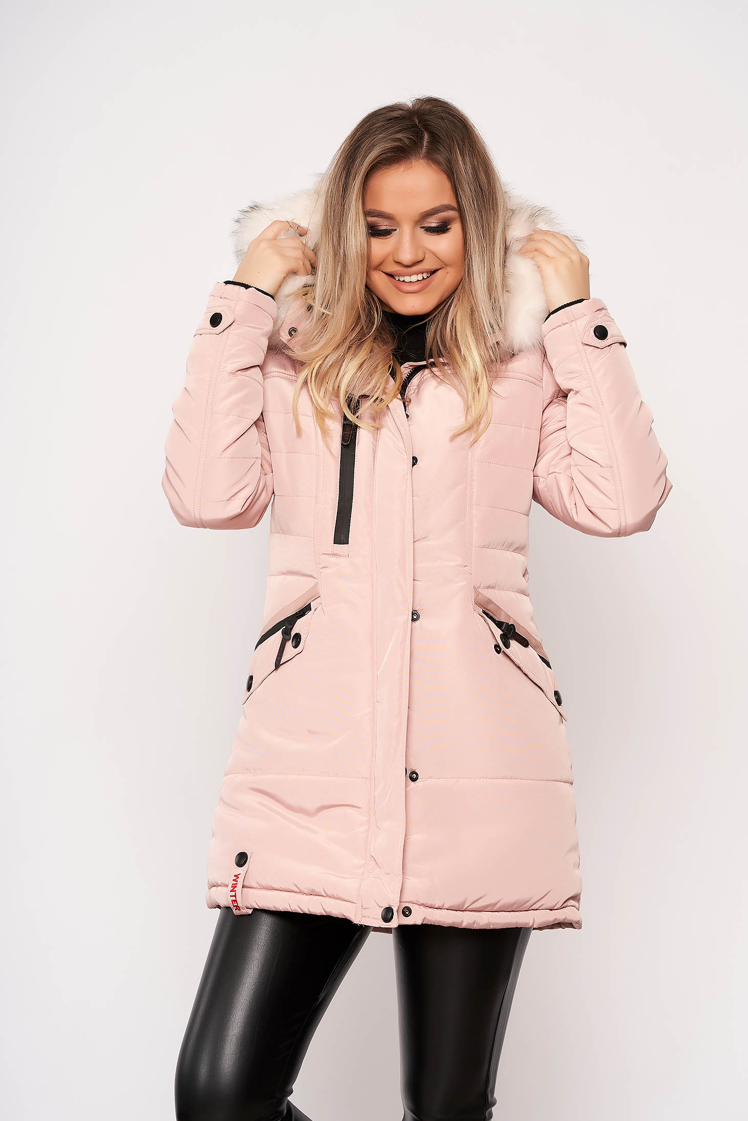 Púder rózsaszínű dzseki casual midi vízhatlan zsebes eltávolítható kapucni szőrmés kapucnis