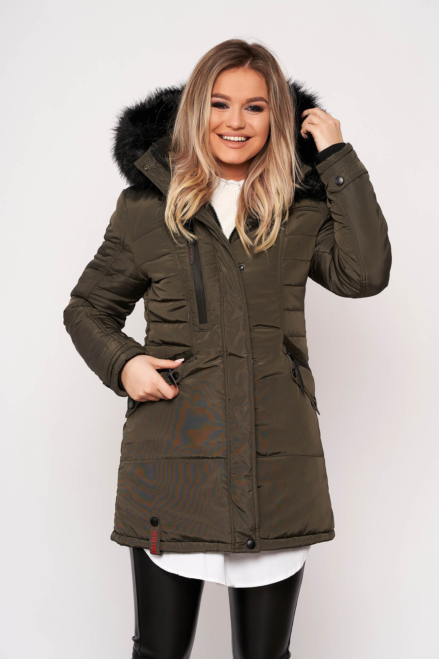 Khaki jacket casual midi from slicker with pockets detachable hood with furry hood
