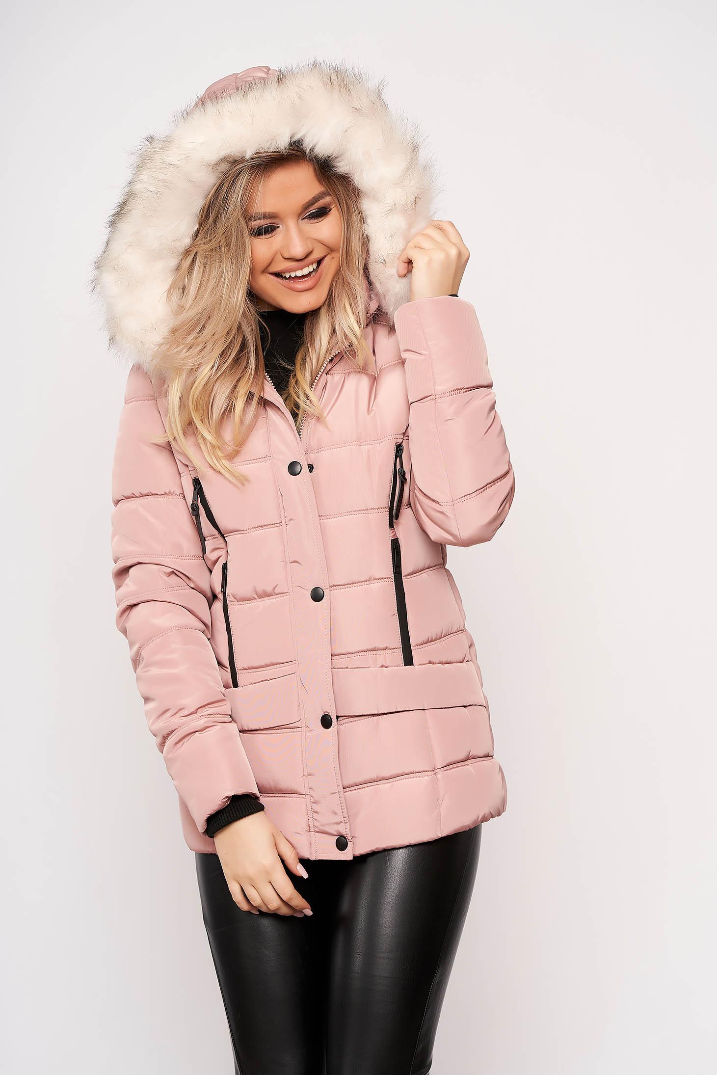 Világos rózsaszínű casual rövid zsebes szőrmés eltávolítható kapucnis vízhatlan dzseki