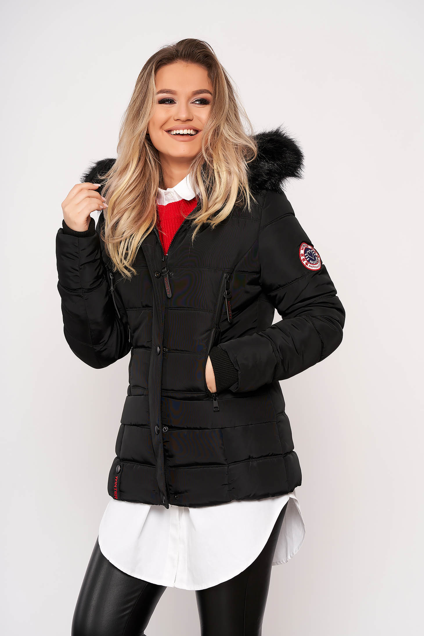 Black jacket casual short cut from slicker detachable hood with pockets with furry hood