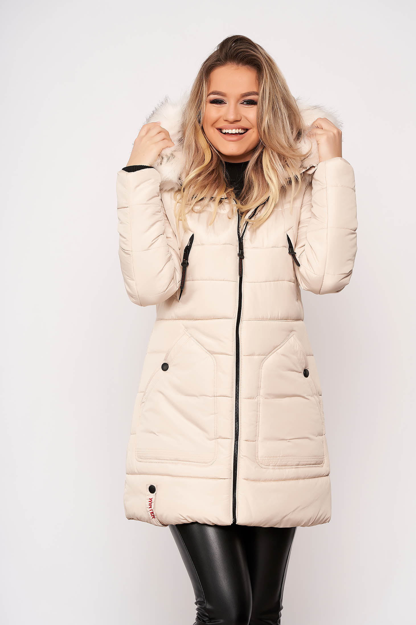 Jacket cream casual midi from slicker with pockets detachable hood with furry hood long sleeve