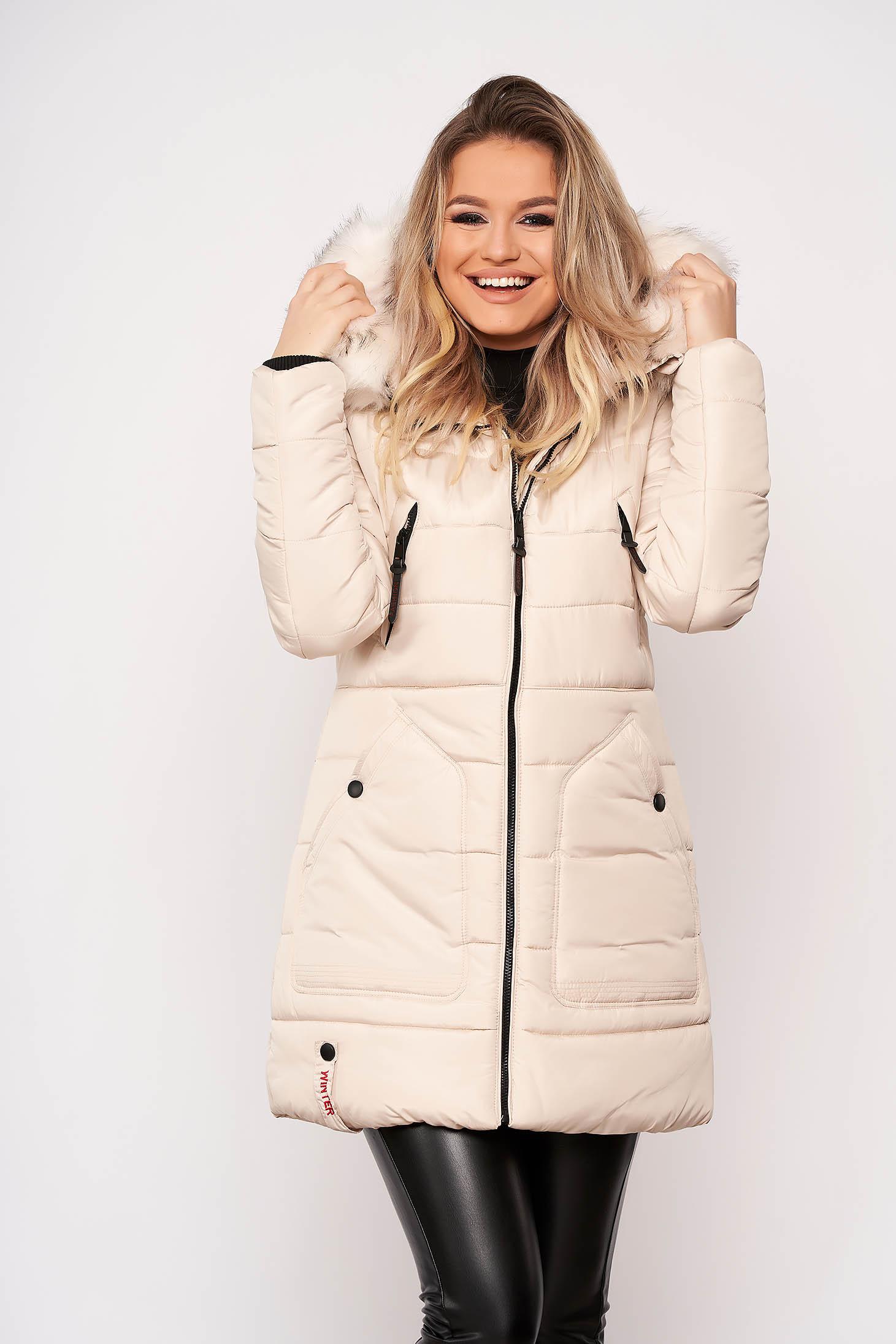 Krémszínű casual midi vízhatlan zsebes szőrmés kapucnis dzseki eltávolítható kapucnival és hosszú ujjakkal