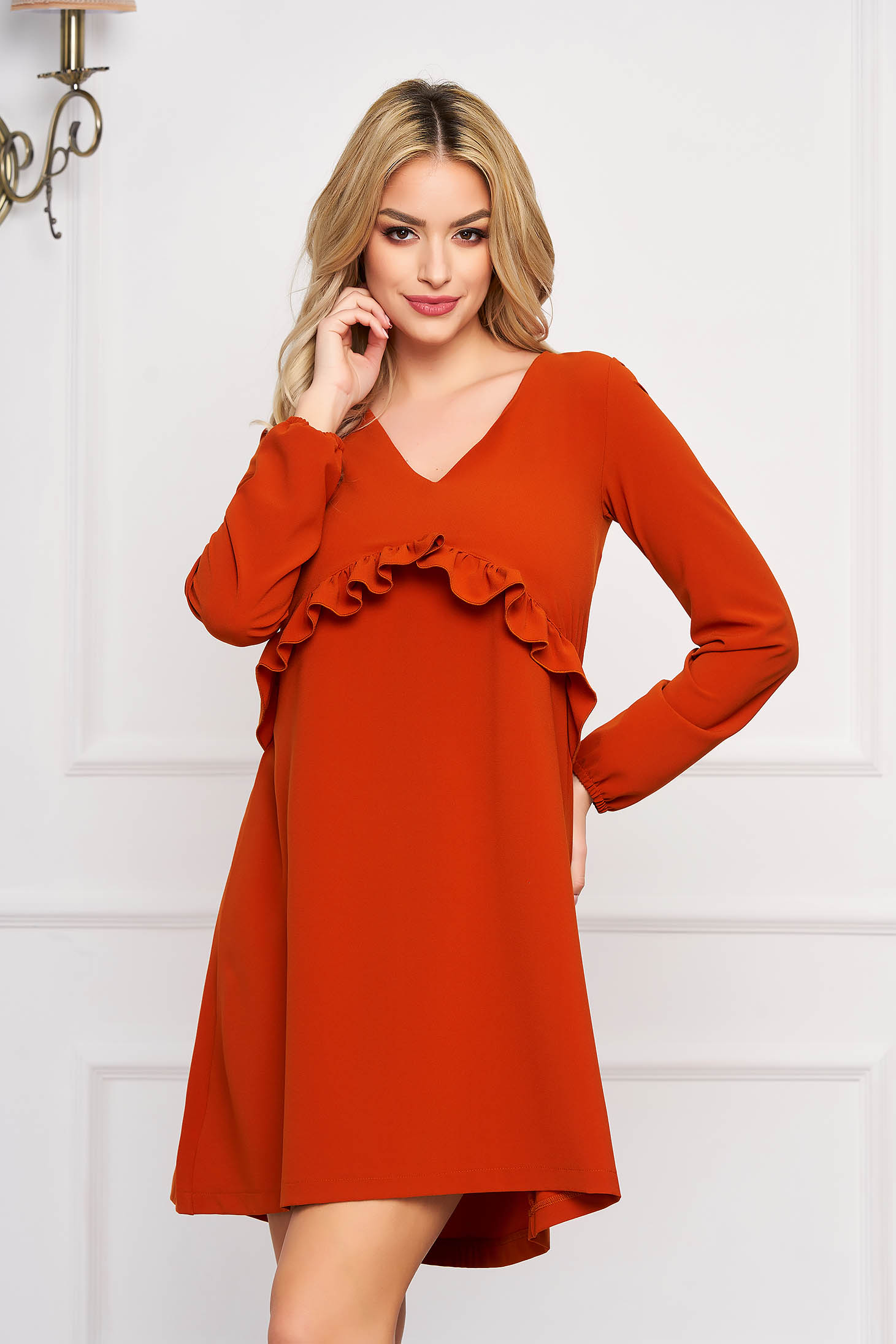 Dress StarShinerS bricky midi flared with ruffles on the chest with v-neckline elastic held sleeves