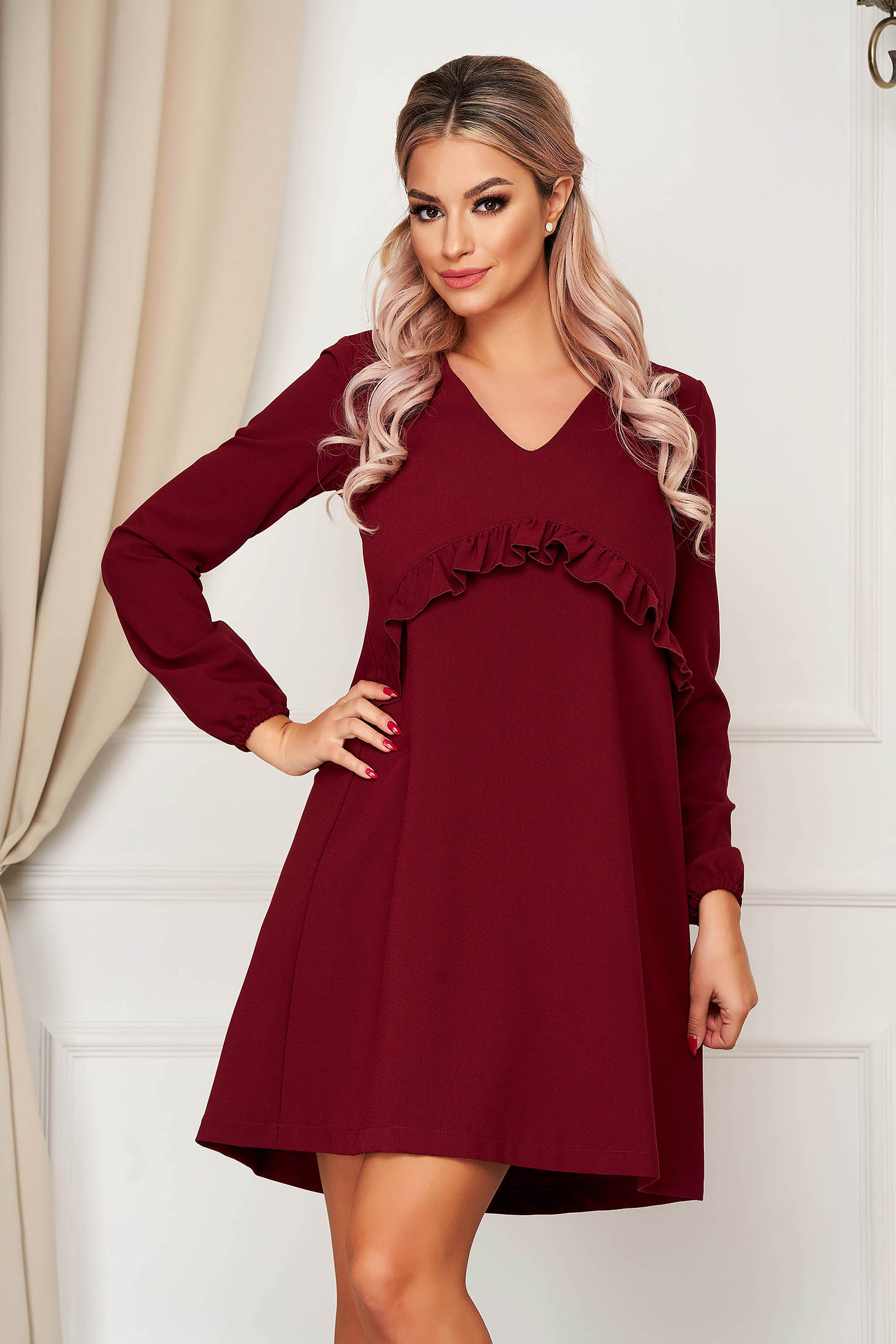 Dress StarShinerS burgundy midi flared with ruffles on the chest with v-neckline elastic held sleeves