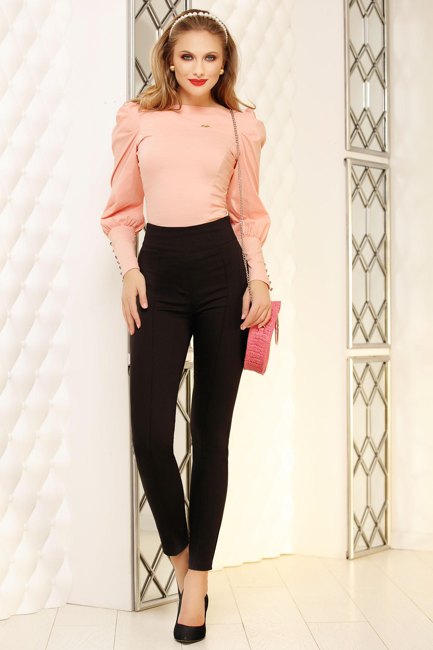 Pantaloni Fofy negri eleganti conici din stofa cu imprimeu cu buline