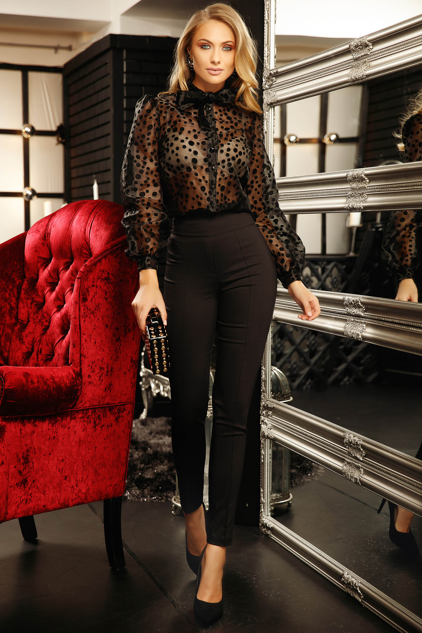 Women`s blouse black short cut elegant flared long sleeved dots print with buttons