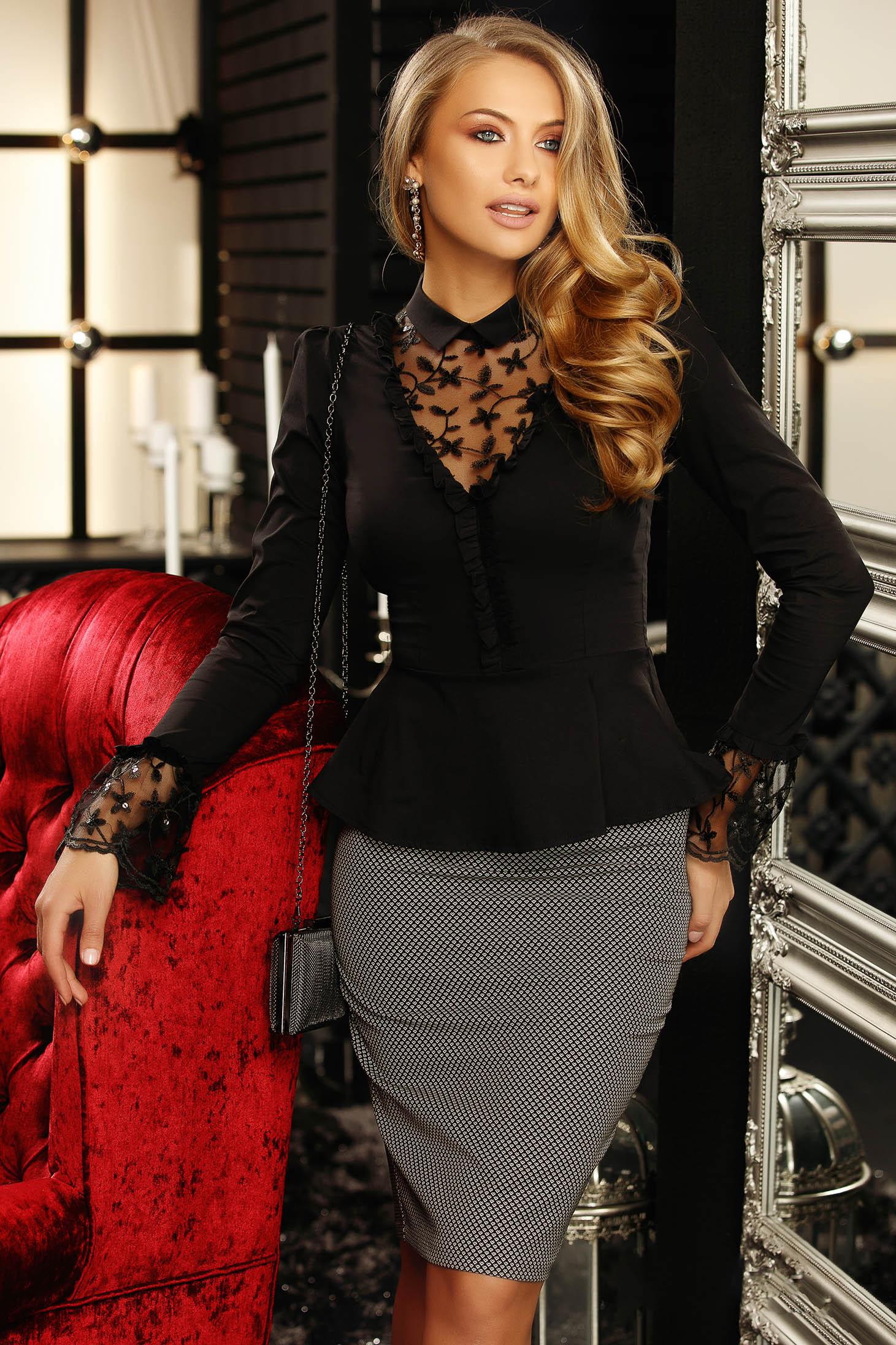 Camasa dama Fofy neagra scurta eleganta cu peplum cu maneci lungi tip clopot