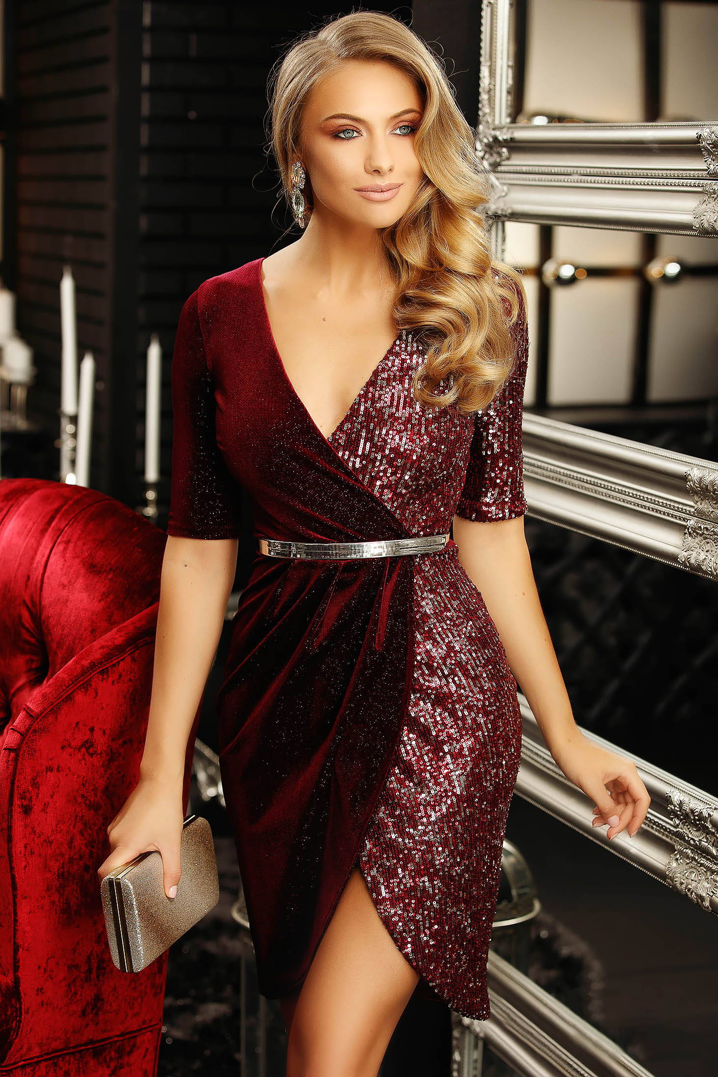 Dress burgundy short cut occasional pencil velvet with sequins with deep cleavage short sleeves