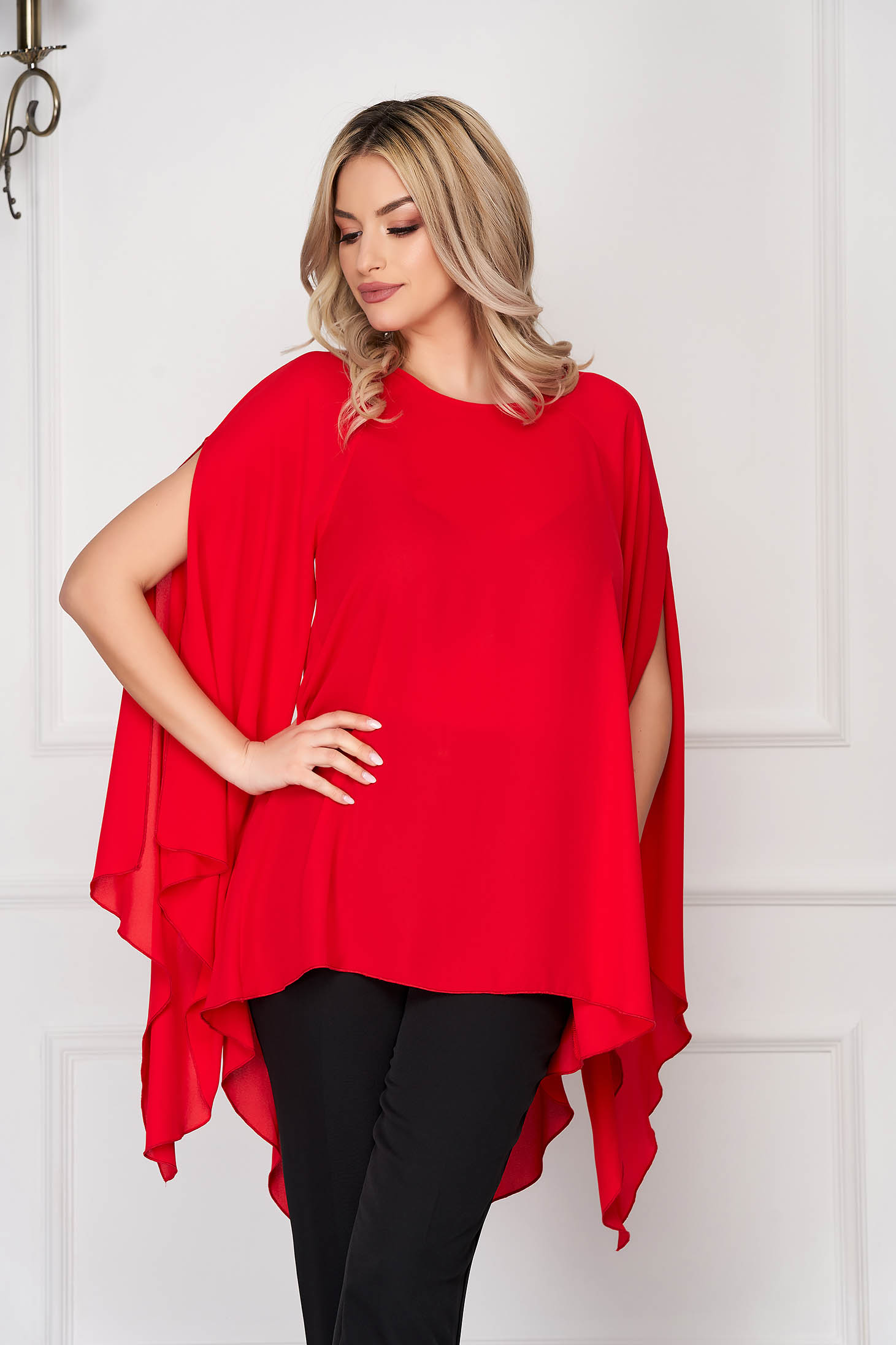 Bluza dama StarShinerS rosie eleganta asimetrica din voal cu croi larg