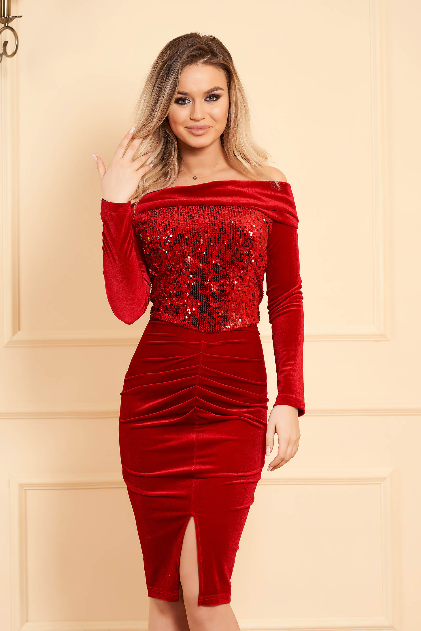 Red dress occasional midi pencil velvet with sequin embellished details long sleeved naked shoulders without clothing
