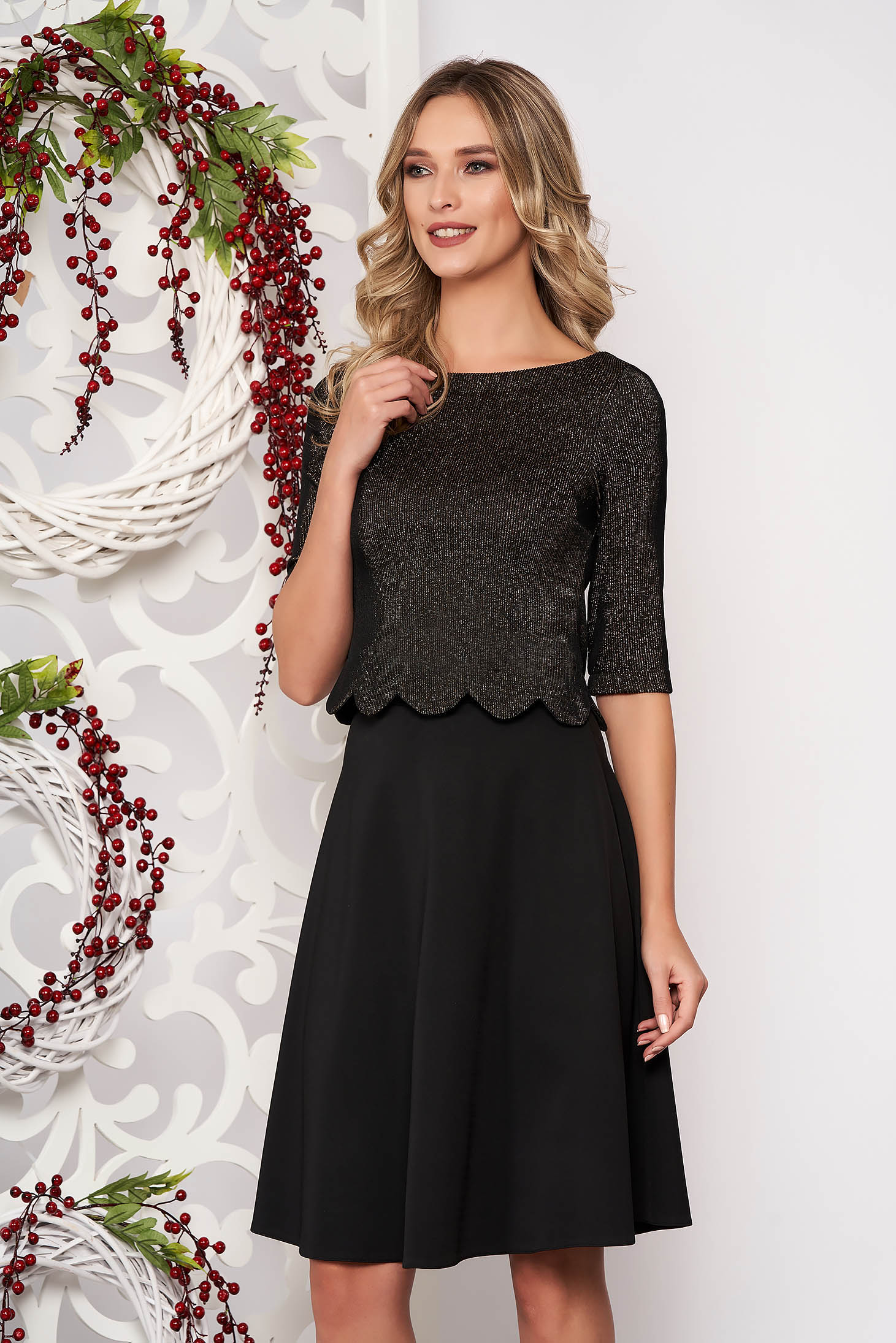 Set StarShinerS black occasional 2 pieces with skirt flaring cut with inside lining with 3/4 sleeves
