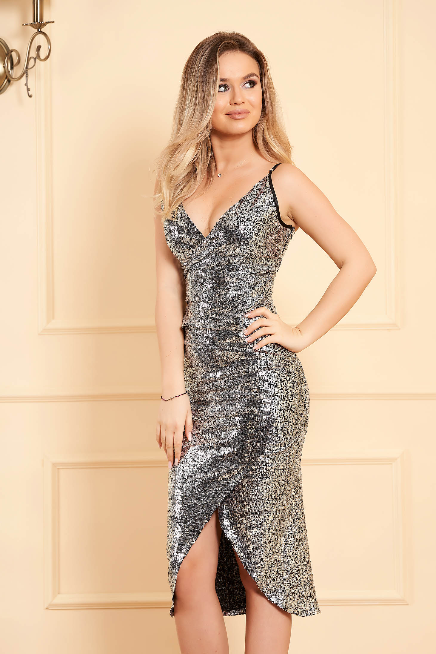 StarShinerS silver occasional dress with inside lining with sequins with tented cut with straps wrap around