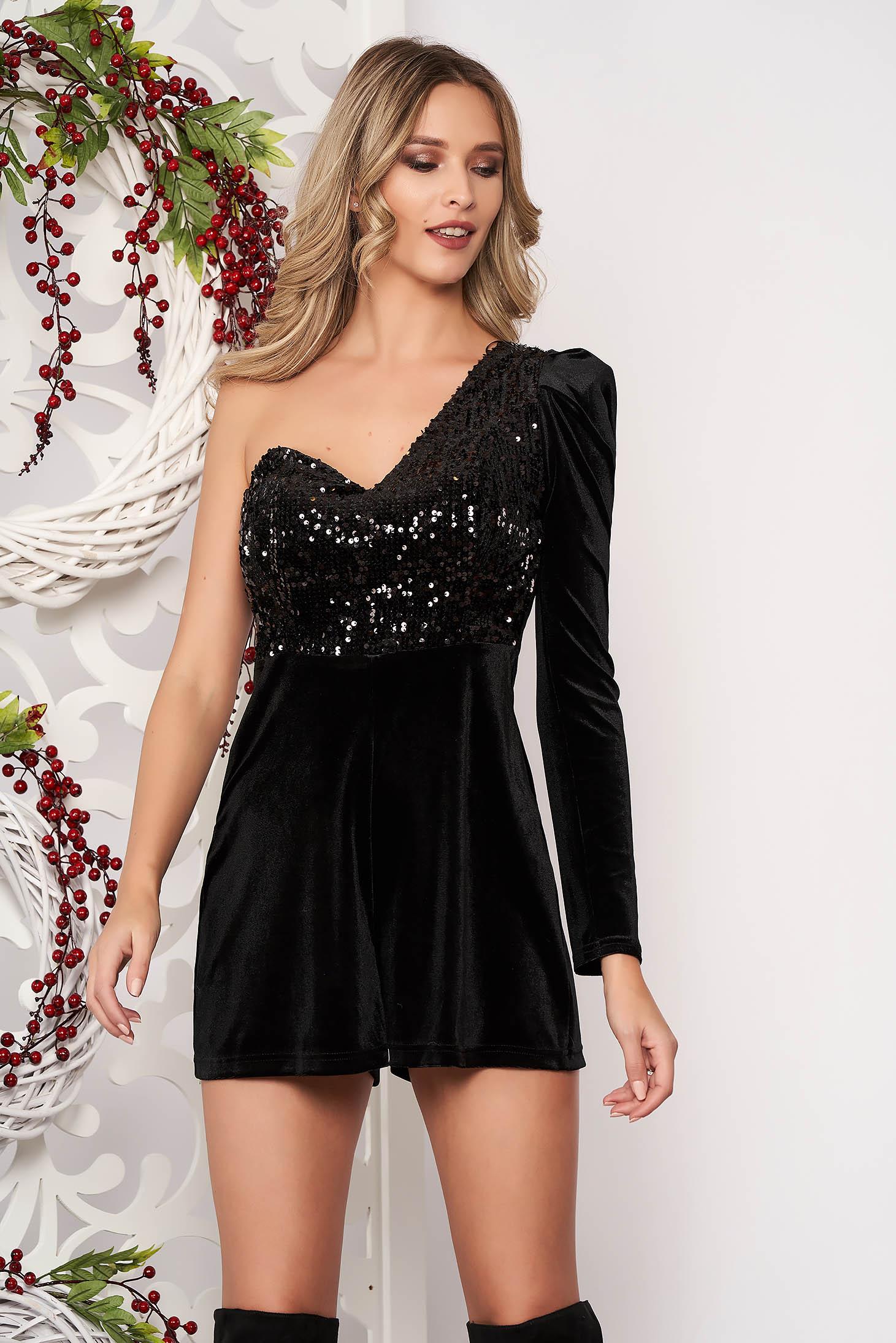 Jumpsuit black one shoulder with sequin embellished details from velvet occasional short cut