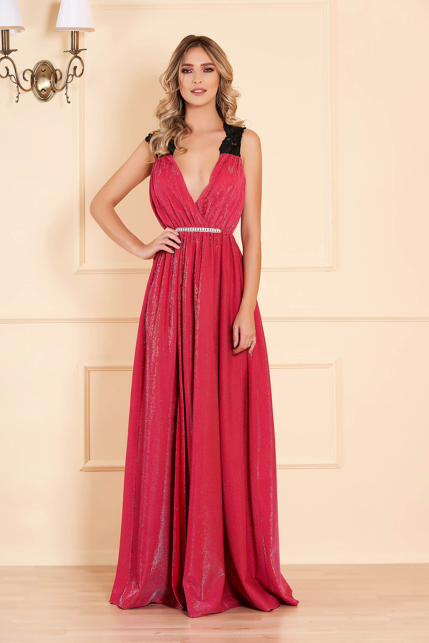 Dress pink evening dresses wrap around with deep cleavage from shiny fabric