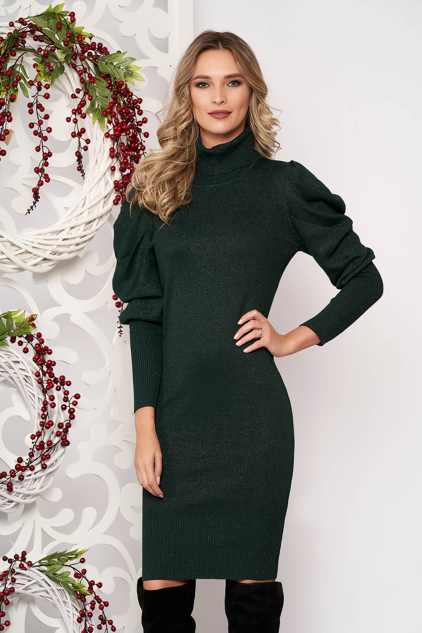 Darkgreen dress long sleeved knitted fabric high collar midi pencil