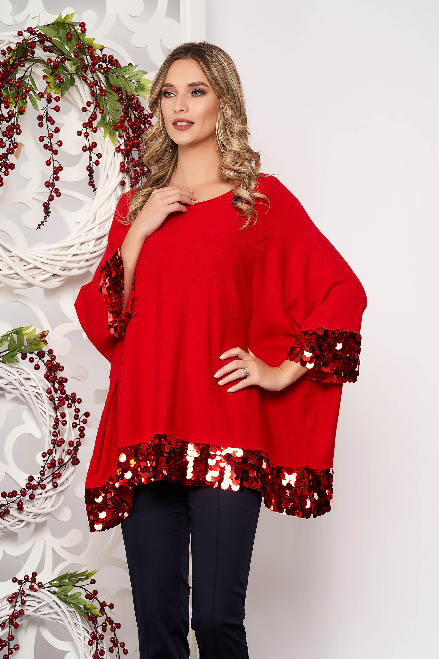 Red women`s blouse with sequin embellished details short sleeves from elastic fabric with easy cut thin fabric short cut