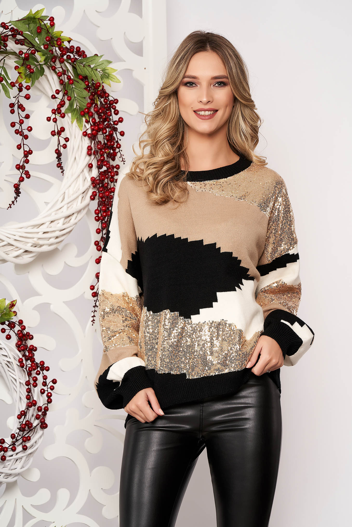 Cream sweater long sleeved with sequin embellished details from wool long sleeve short cut