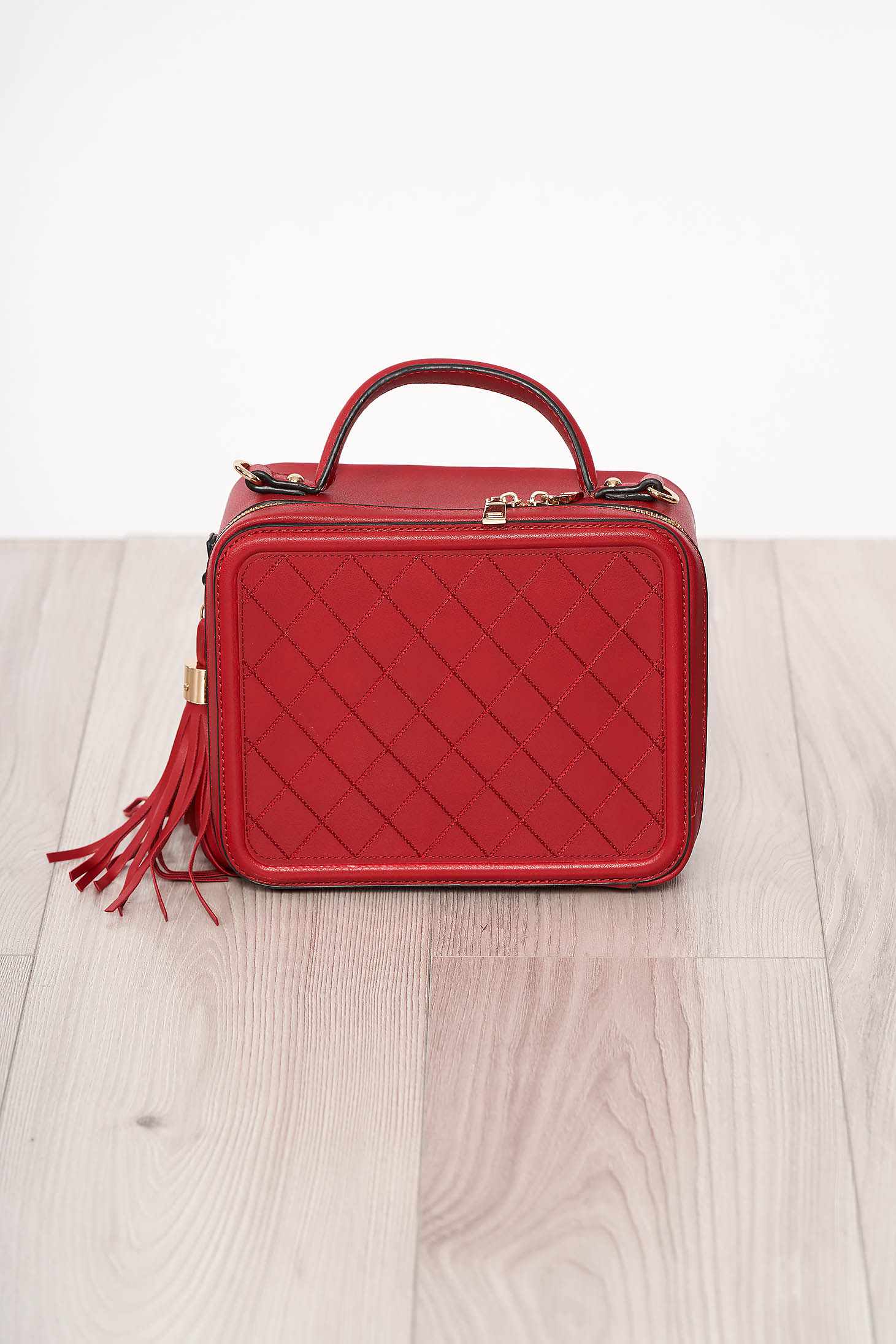 Bag red zipper accessory with tassels ecological leather short handles