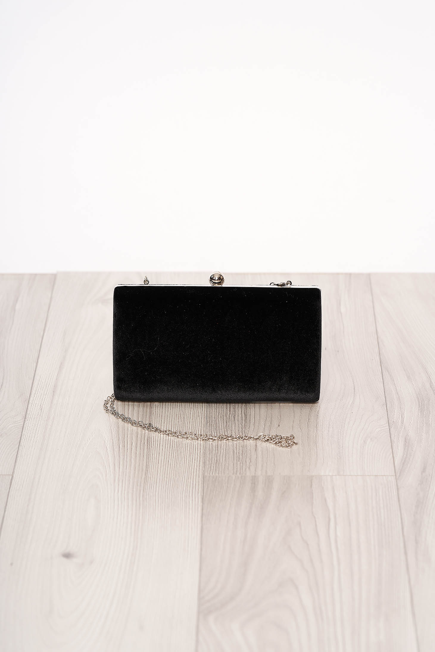 Bag black long chain handle allure of satin buckle accessory from ecological suede occasional