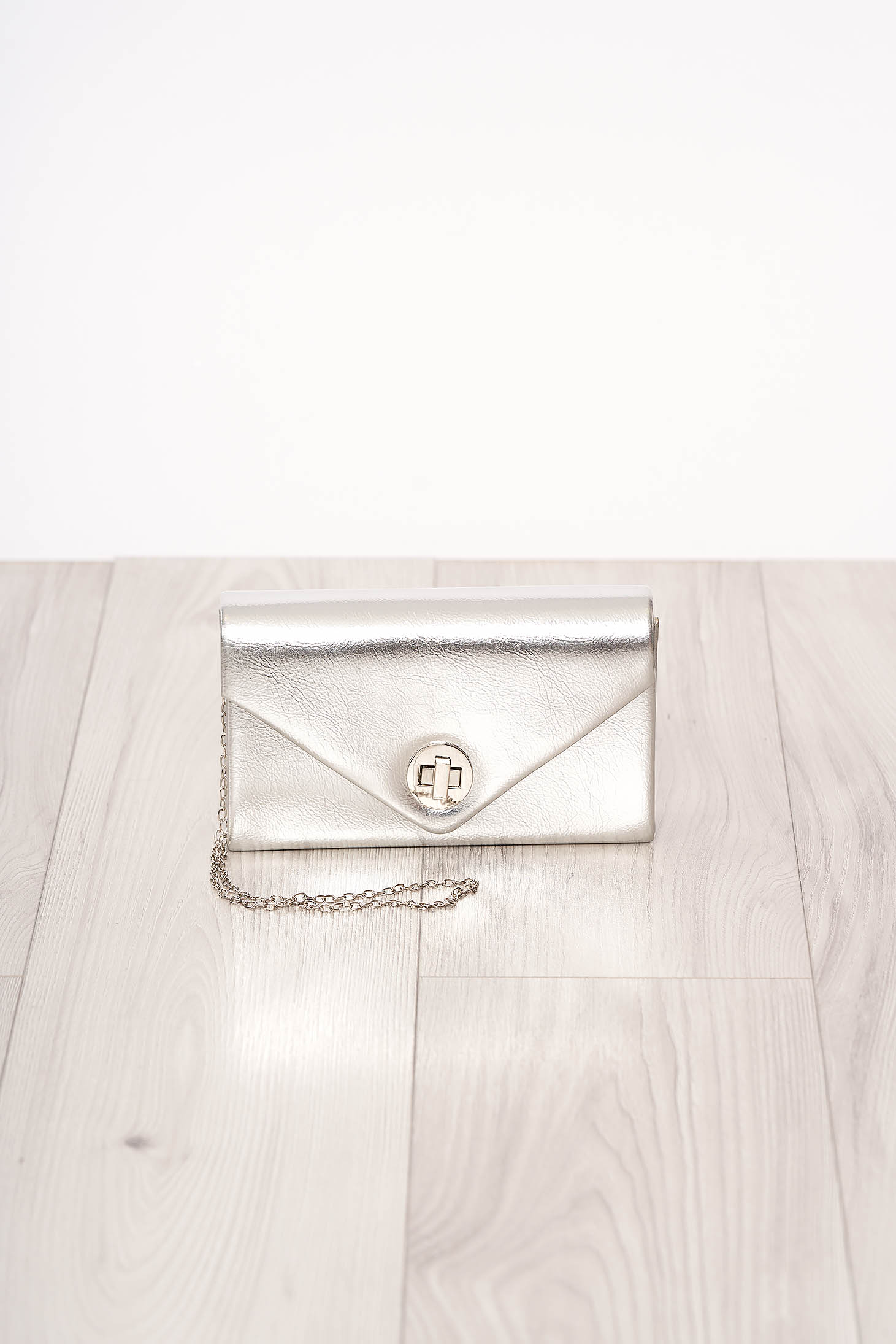 Bag silver long chain handle allure of satin buckle accessory ecological leather occasional