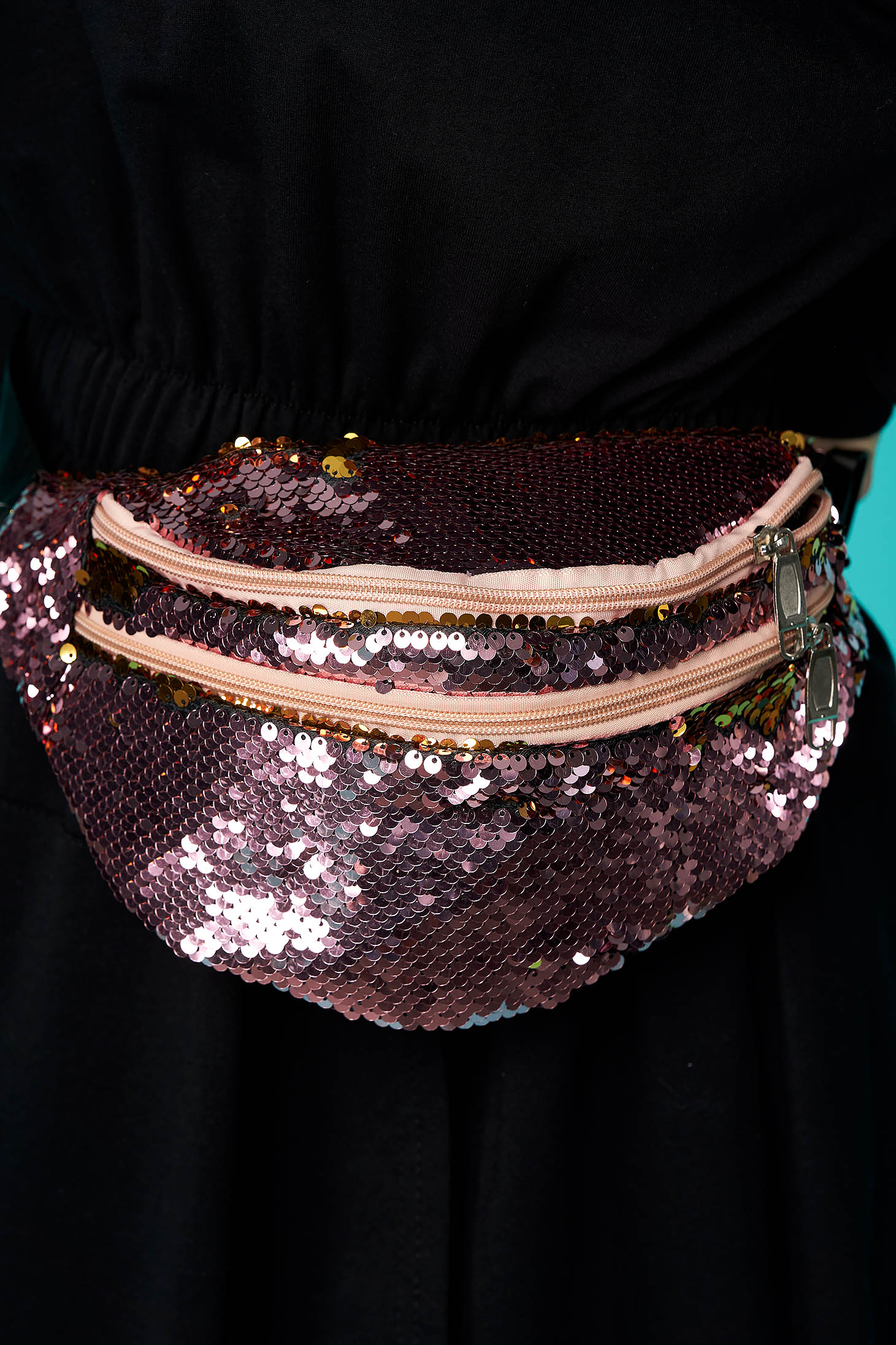 Bag pink zipper accessory with sequin embellished details long, adjustable handle