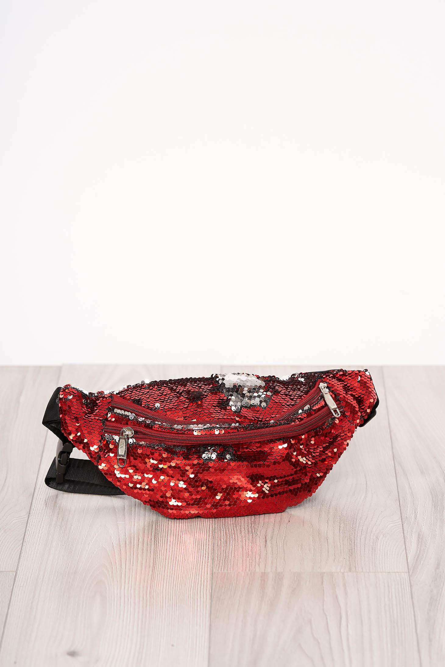 Geanta dama SunShine rosie cu aplicatii cu paiete accesorizata cu fermoar cu maner lung reglabil