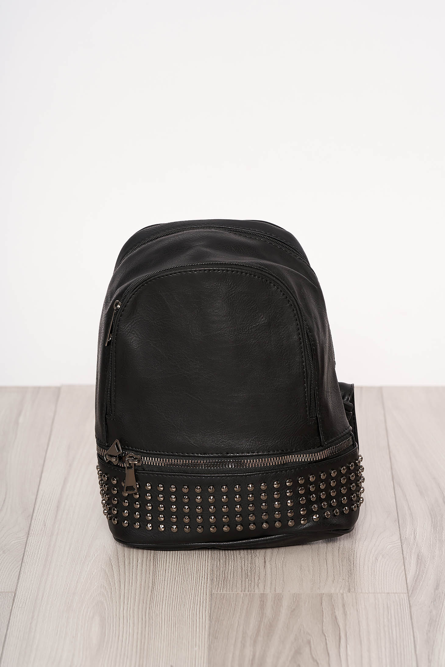 Backpacks black with metallic spikes zipper accessory ecological leather long, adjustable handle short handles