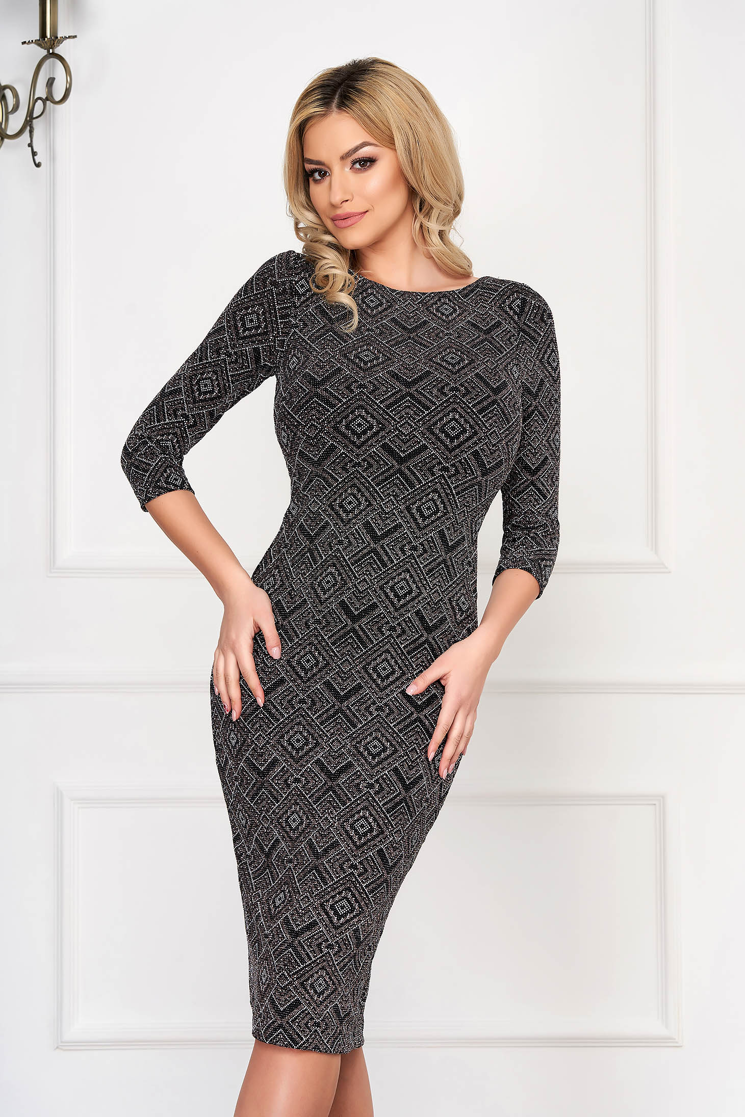 Dress StarShinerS black knitted fabric midi pencil 3/4 sleeve
