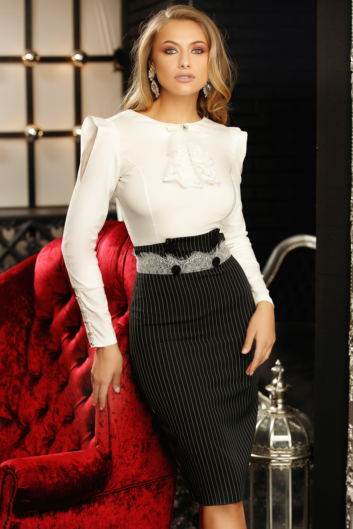 White elegant women`s blouse with tented cut elastic cotton bow accessory
