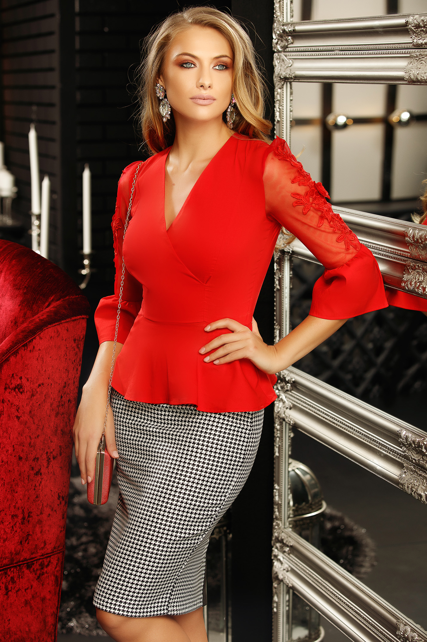 Women`s shirt red with net accessory with lace details with v-neckline peplum tented 3/4 sleeve
