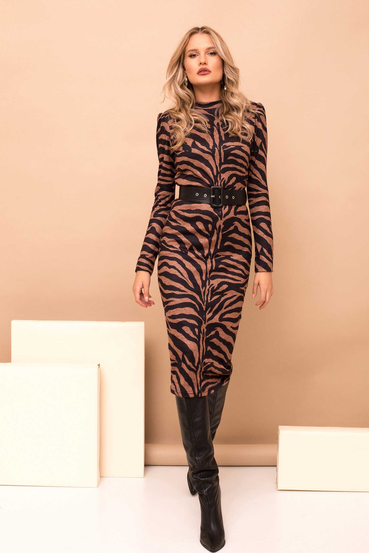 Dress brown pencil midi elegant knitted fabric tiger print accessorized with belt