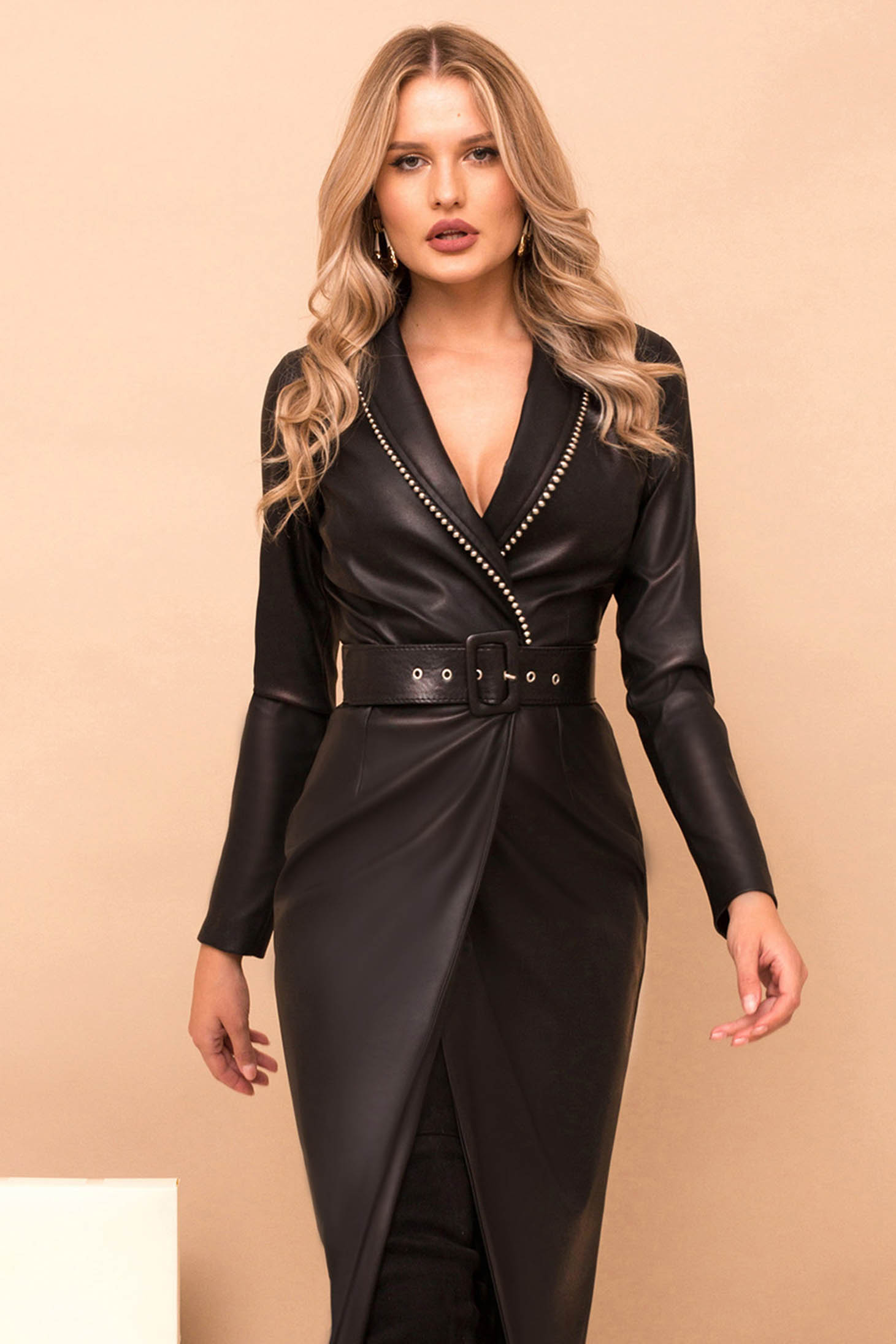 Dress black pencil midi elegant ecological leather wrap around accessorized with belt golden metallic details with v-neckline long sleeved