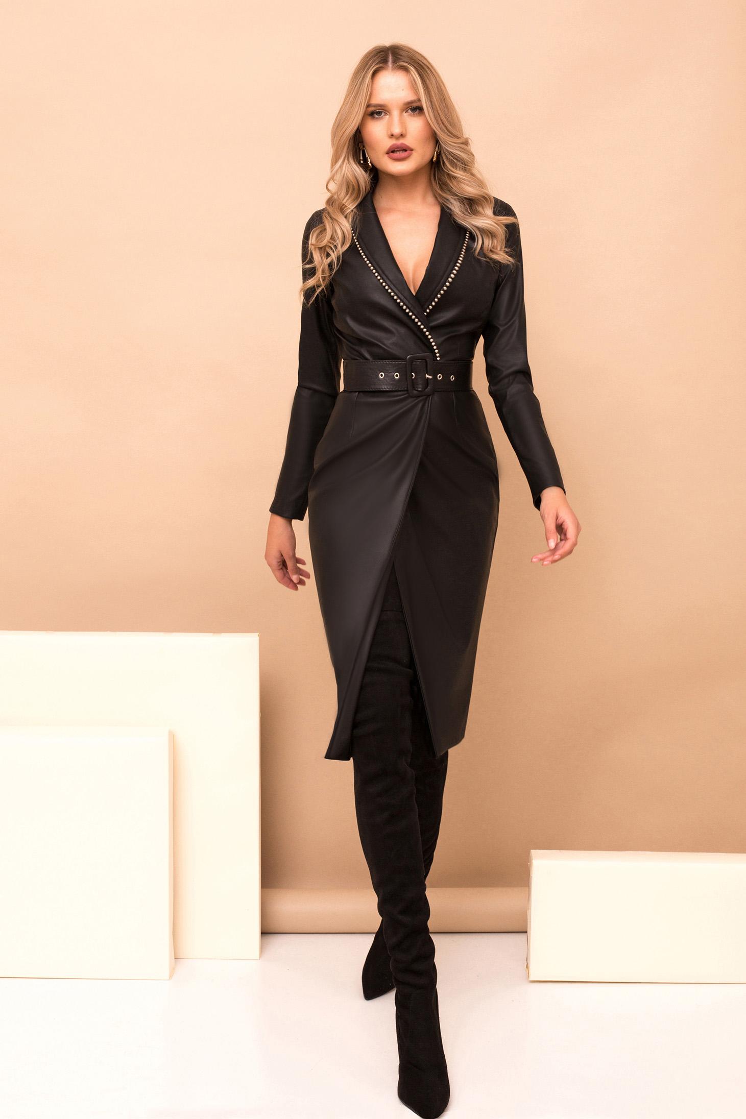 Fekete midi elegáns szintetikus bőr átlapolt ceruza ruha öv típusú kiegészítővel v-dekoltázzsal hosszú ujjakkal