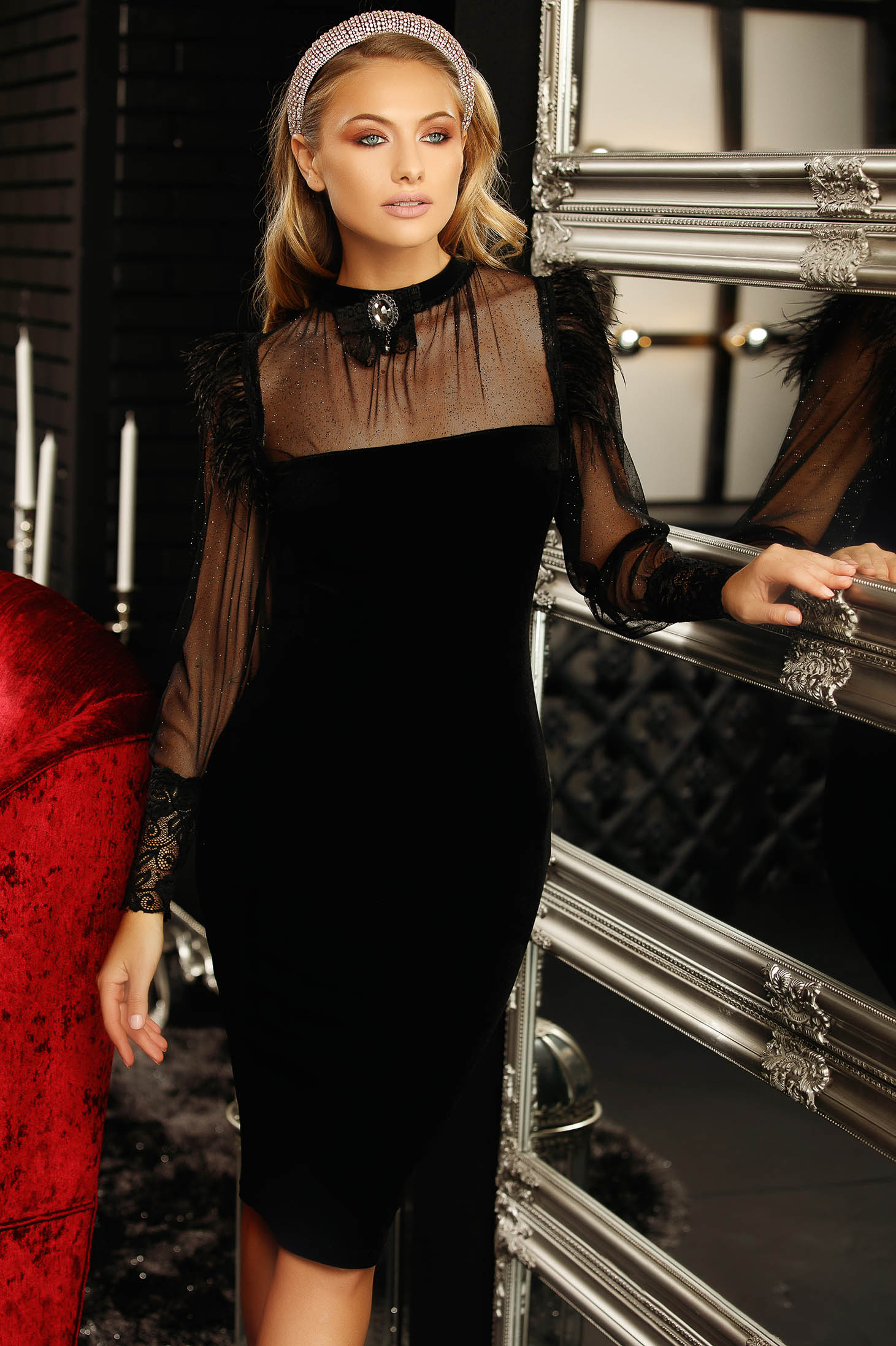 Dress black occasional pencil midi velvet with turtle neck accessorized with breastpin long sleeved with net accessory feather details with bright details