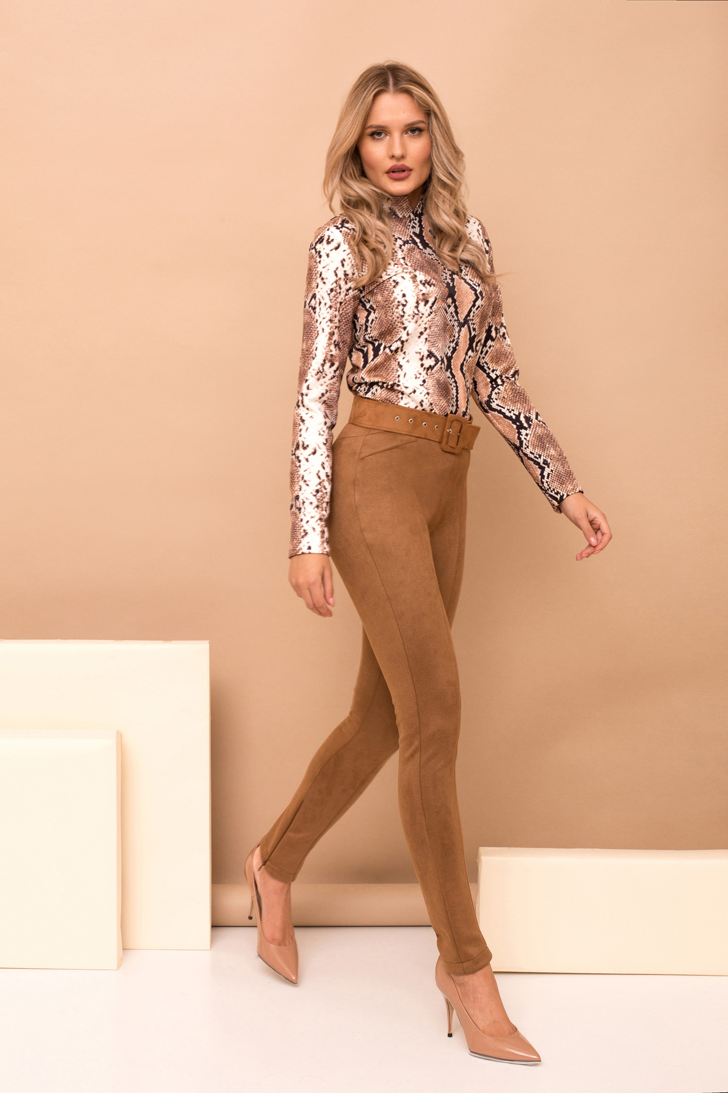 Brown trousers elegant long conical accessorized with belt faux leather