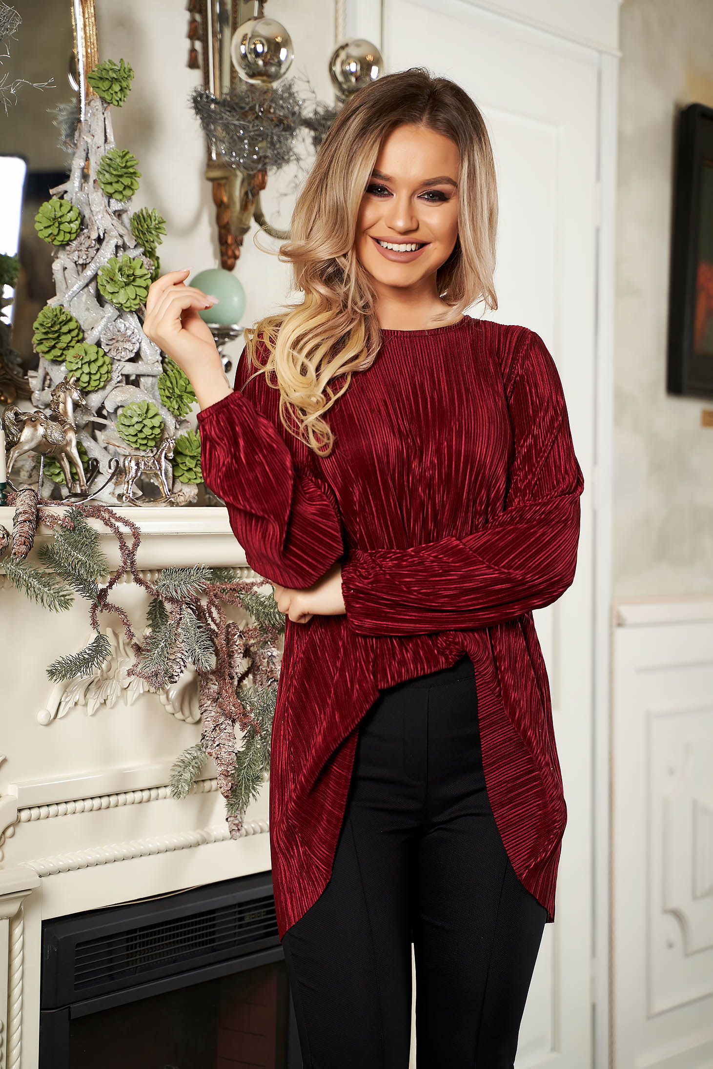 StarShinerS burgundy women`s blouse elegant with easy cut long sleeved neckline