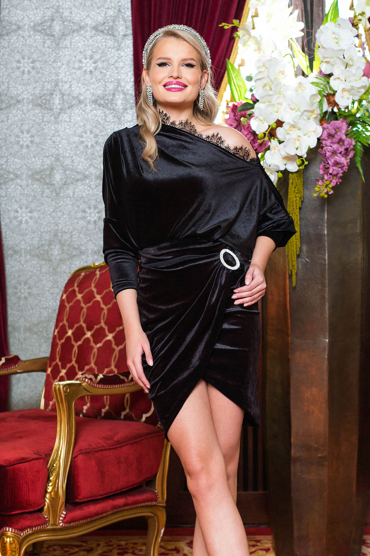 Black women`s blouse occasional from velvet with lace details