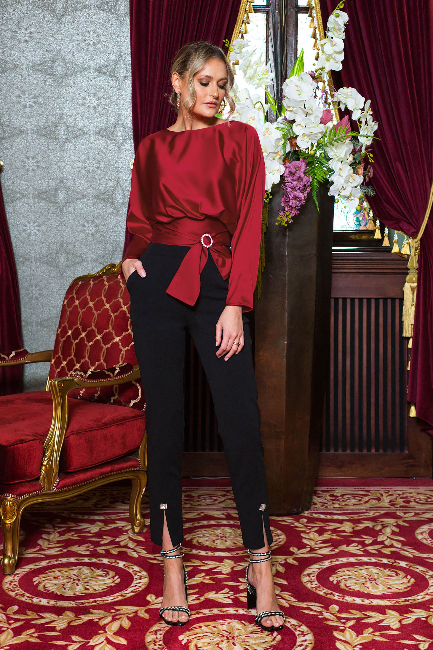 Black trousers with embellished accessories slit occasional high waisted cloth