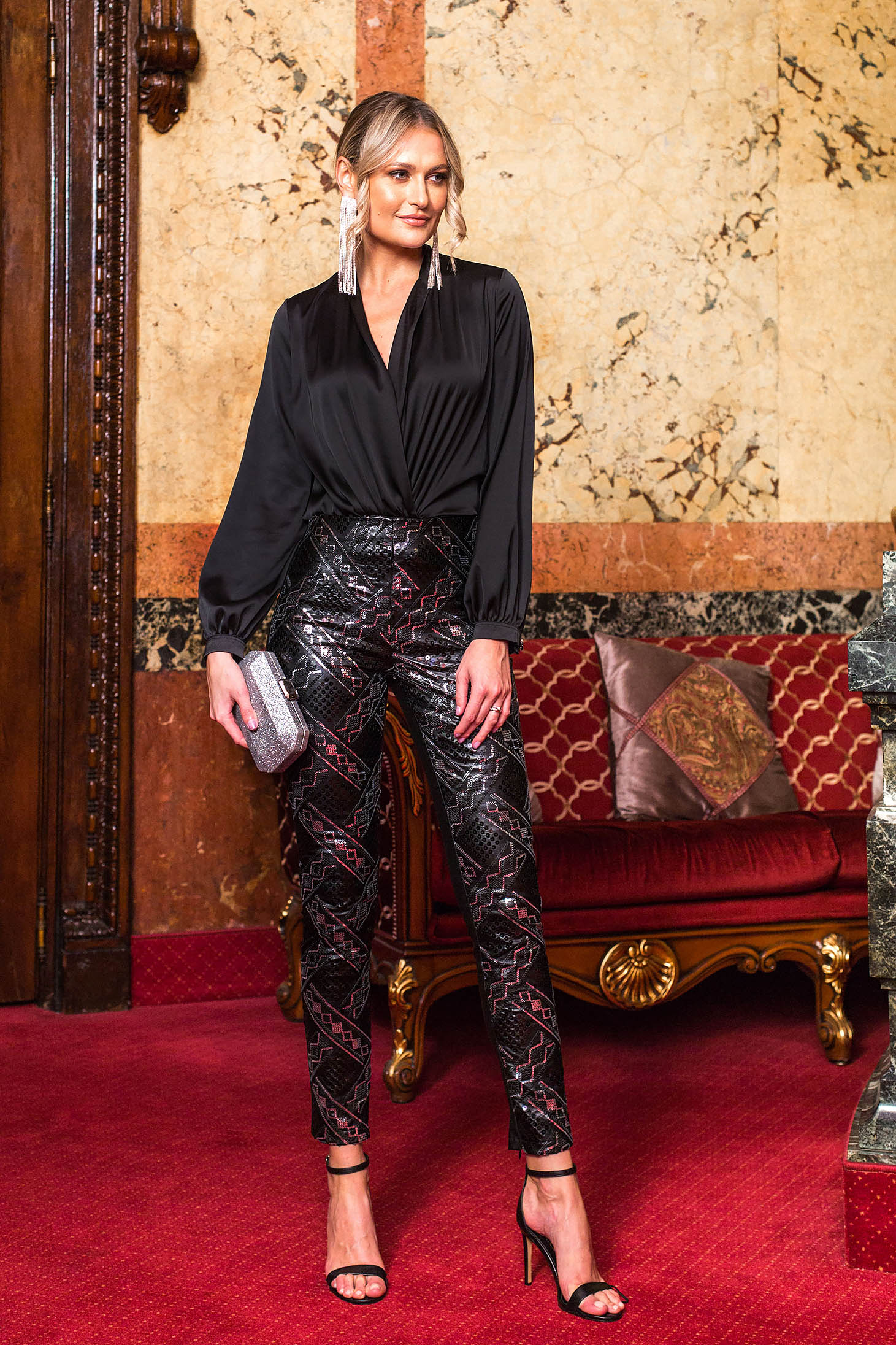 Black trousers with geometrical print high waisted occasional straight