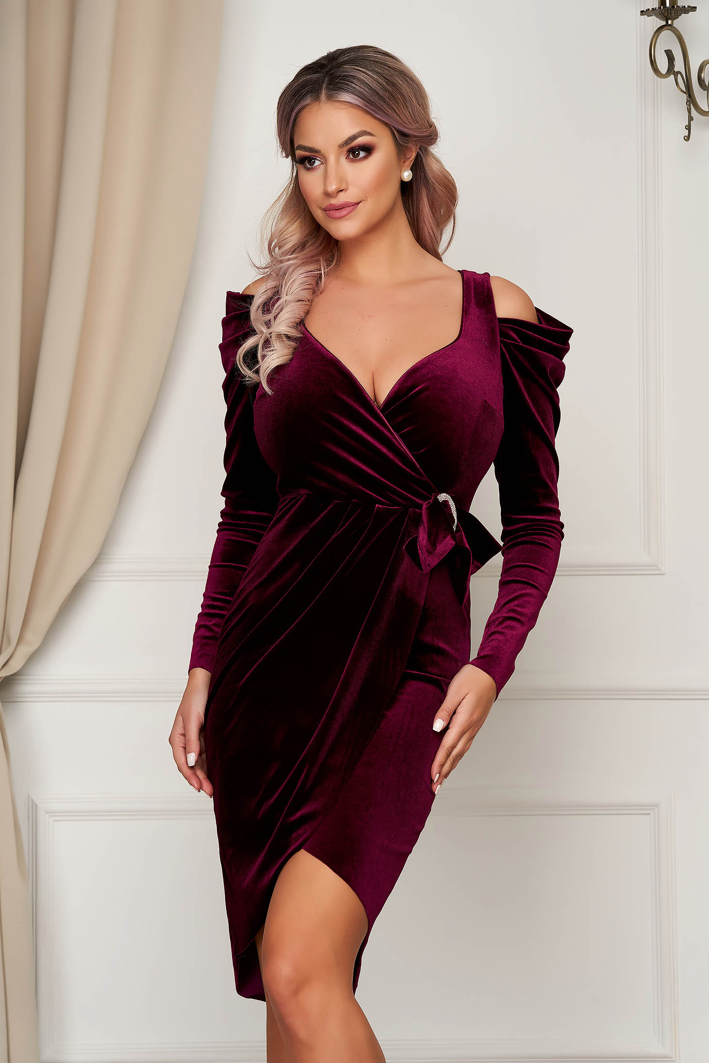 Burgundy dress velvet pencil long sleeve with v-neckline with puffed sleeves wrap around