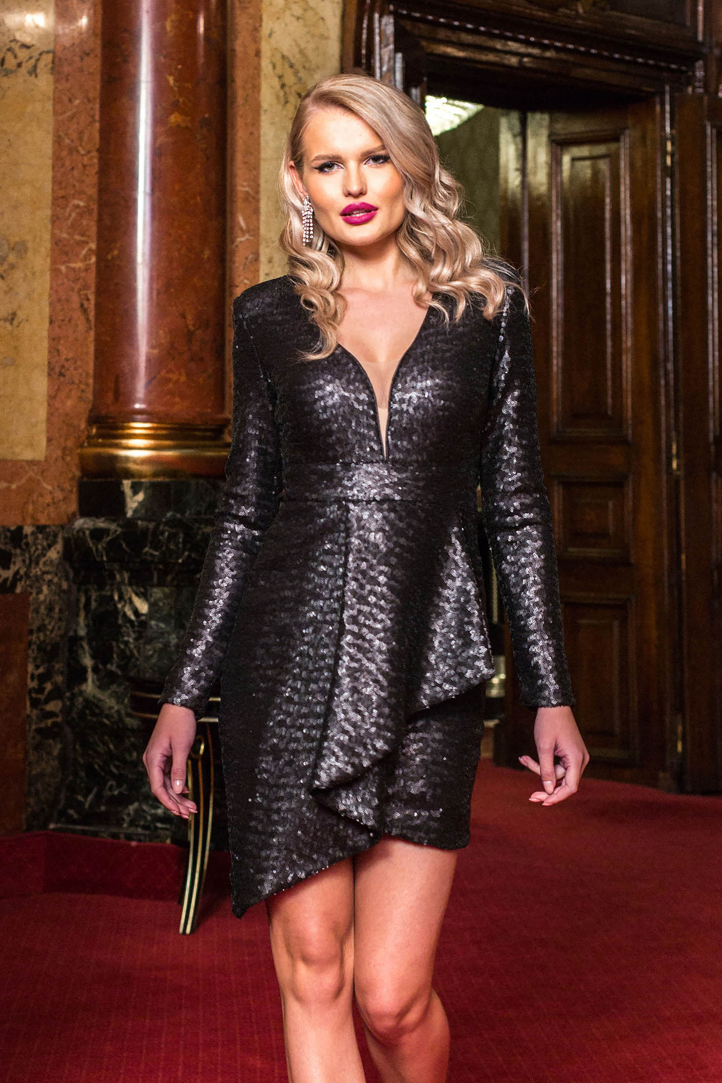 Black dress with sequins occasional asymmetrical with v-neckline pencil with deep cleavage